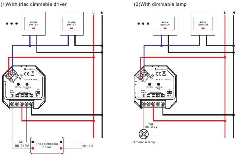 1 kanal funk led dimmer 230v ac 1x 400w f r rf mehrzonen. Black Bedroom Furniture Sets. Home Design Ideas